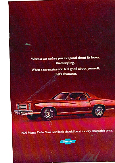 Chevrolet Monte Carlo For 1976 Ad