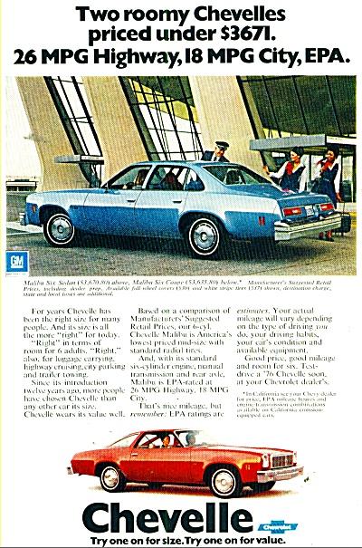 1976 Chevrolet MALIBU Chevelle CAR PROMO AD (Image1)