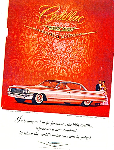 1961 PINK CADILLAC Car AD - Jewel V Crest Cad (Image1)