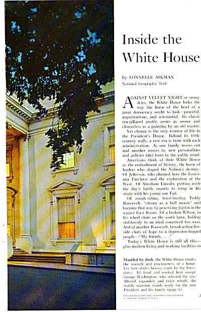 Inside the WHITE HOUSE  story & pictures 1961 (Image1)