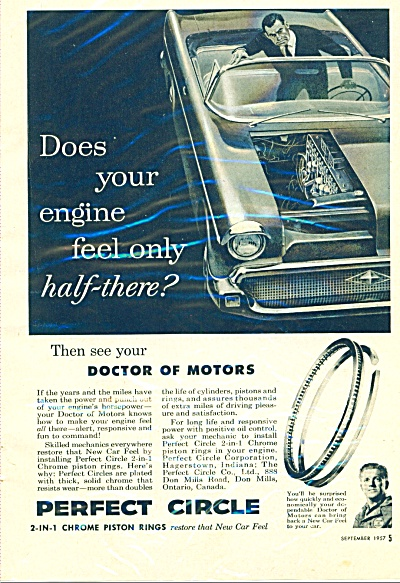 Perfect Circle Chrome Piston Rings Ad 1957
