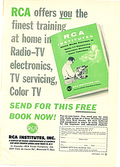 Rca Institutes Inc. - Training For Radio-tv