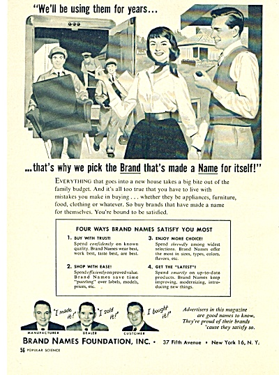 1957 BRAND NAMES FOUNDATION AD (Image1)