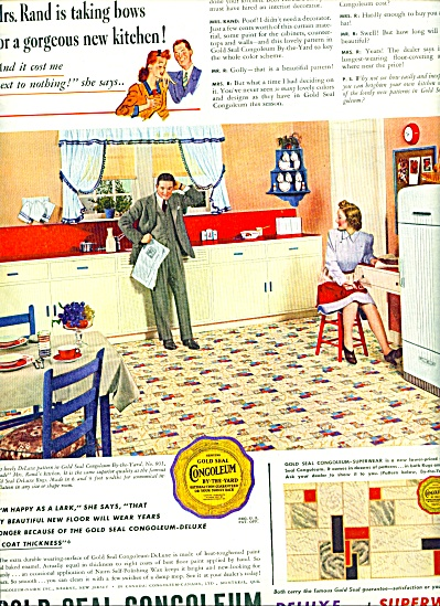 1941 Gold seal congoleum Tile AD RETRO LOOK (Image1)