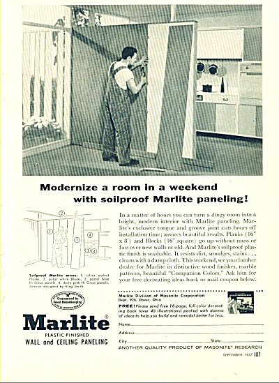 Marlite Wall And Ceiling Paneling Ad 1957
