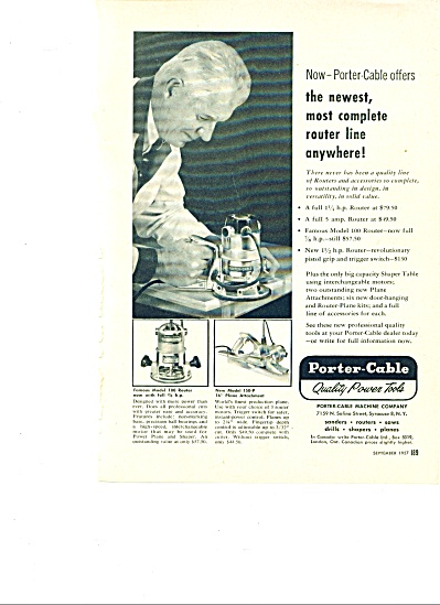 Porter Cable Quality Power Tools Ad 1957