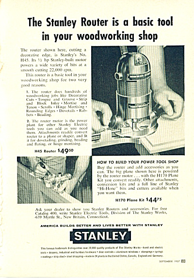 Stanley Tool S- Router Ad 1957