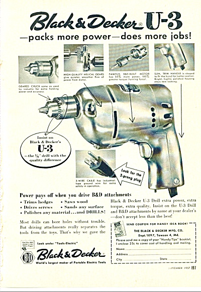 Black And Decker Power Tools Ad 1957