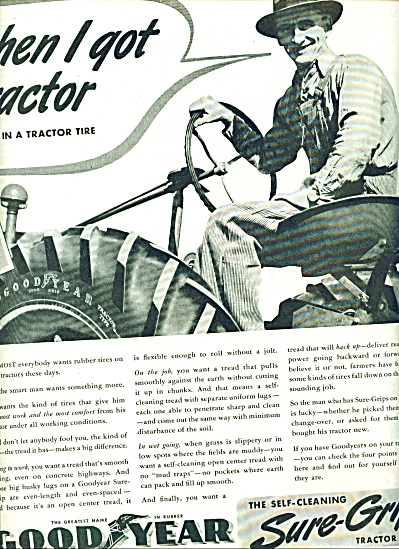 Goodyear sure grip tractor tire ad 1941 (Image1)