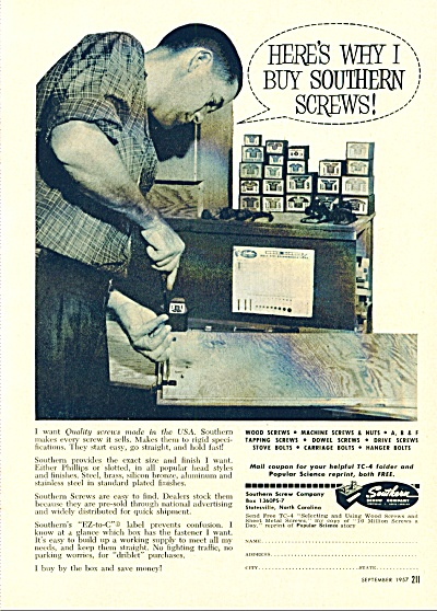 Southern Screw Company 1957 Ad