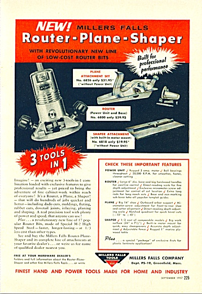 Millers Falls Tools- Router-plane-shaper Ad