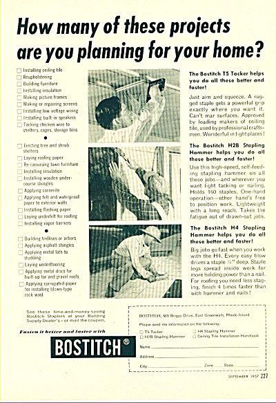 Bostitch T5 tacker - stapling hammer ad 1957 (Image1)