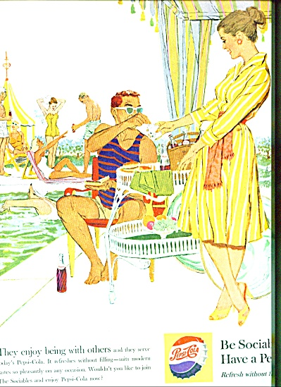 1959 PEPSI Cola AD Be Sociable Poolside ART (Image1)