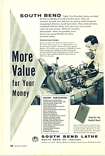 South Bend Lathe ad 1957 (Image1)