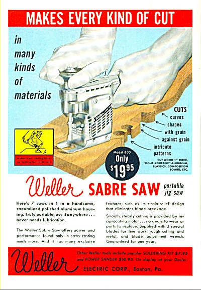 Weller Sabre Saw -portable jig saw ad 1957 (Image1)