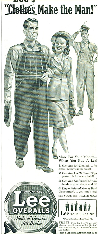 Lee Coveralls Ad 1941