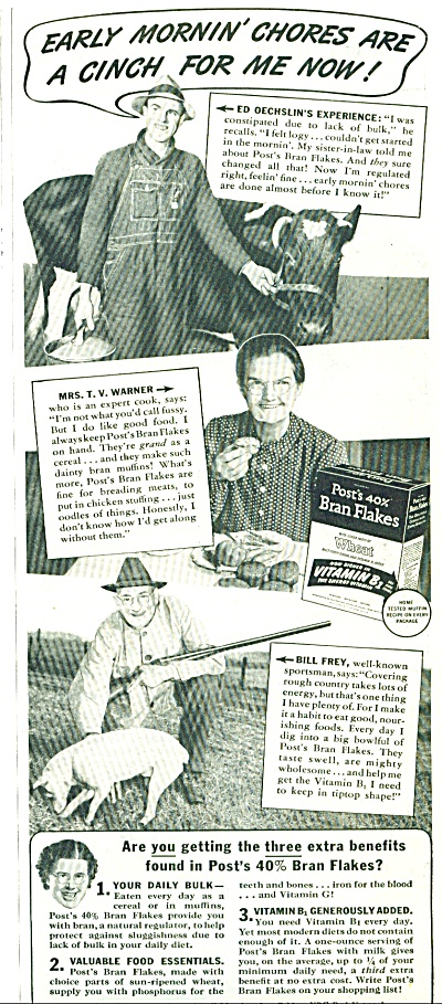 1941 POST Bran FLAKES AD FARMING - SPORTSMAN (Image1)