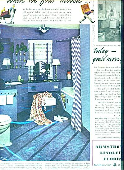 1941 Armstrong Linoleum Floor AD Vintage BATH (Image1)