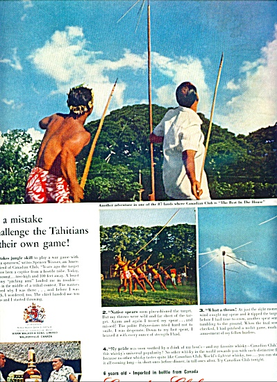 1961 Canadian Club Ad Spears In Tahiti