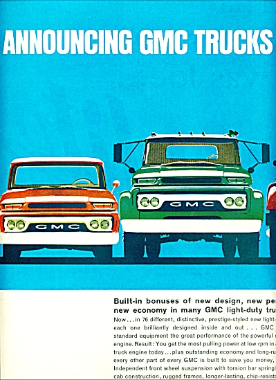 1961 Gmc Trucks Ad 2pg Awesome Lineup Models