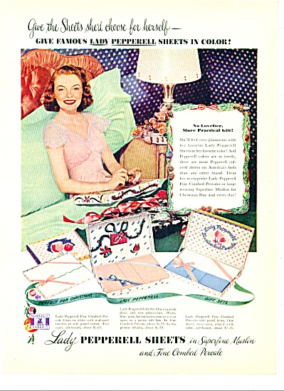 Lady Pepperell Sheets Ad 1951 Lounging Woman