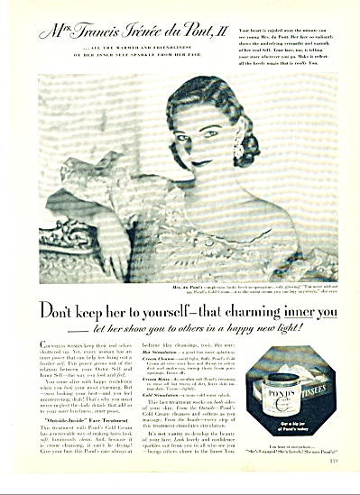 1951 POND'S Cold Cream AD Francis DuPONT (Image1)