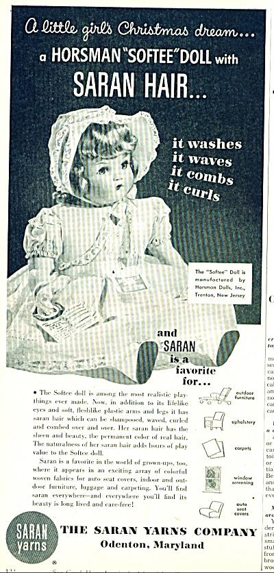 1951 SARAN HORSMAN Softee SOFTEEDOLL AD (Image1)