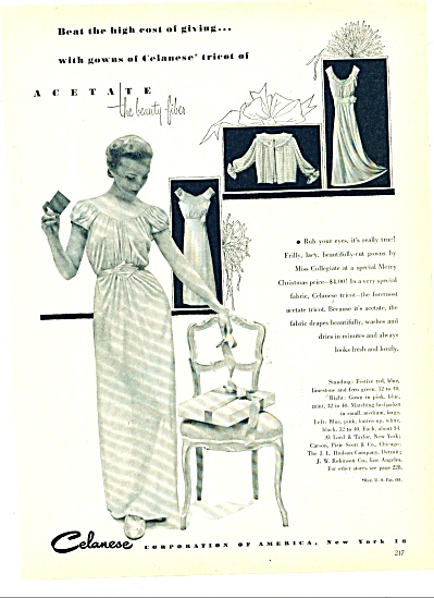 Celanese woman's gowns ad 1951 (Image1)