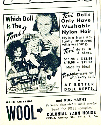 1951 IDEAL TONI DOLL DOLLS AD Nylon Hair (Image1)