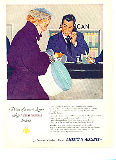 1951 American Airlines Ad Al Parker Artwork