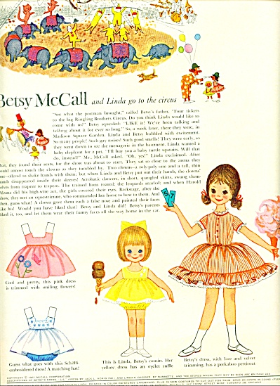 Betsy McCall  dolls - Linda goes to circus ad (Image1)