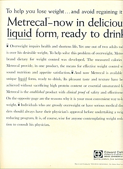 Metrecal Liquid For Weight Control Ad 1961