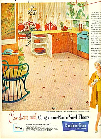 Congolleum Nairn fine floors ad 1961 Aqua Retro (Image1)