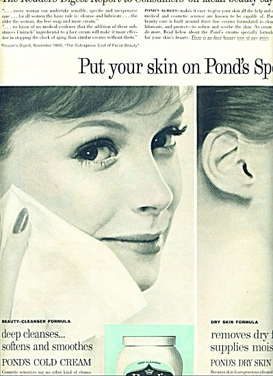 1961 PONDS Cold Cream 2 pg AD Beautiful Model (Image1)