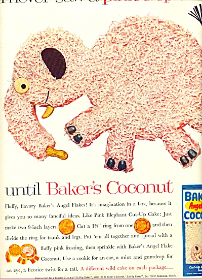 Baker's angel flake coconut ad 1961 PINK ELEPHANT (Image1)