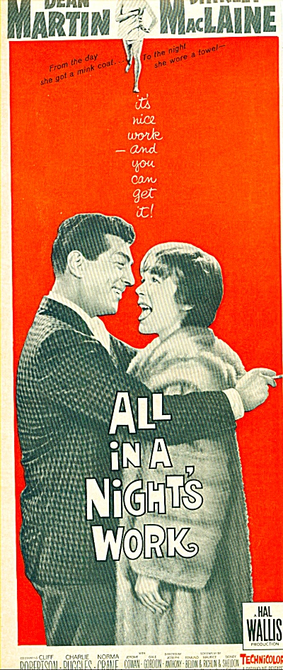 Movie AD PROMO: All in a Nights work - DEAN MARTIN (Image1)