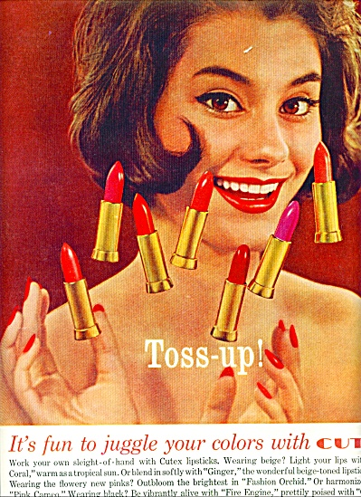 1961 CUTEX LIPSTICK AD TOSS Up CUTE Model (Image1)