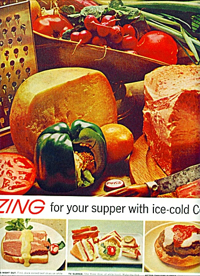 1961 COCA COLA zing for your supper AD Coke (Image1)