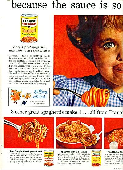 Franco American Spaghetti Ad 1961