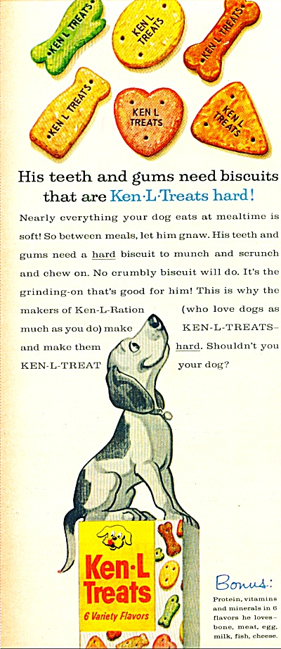 Ken-L-Treats biscuits for dogs ad 1961 (Image1)