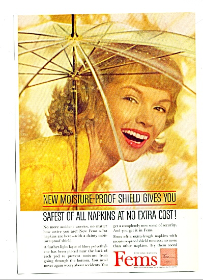 1961 Fems ultra napkins MODEL Umbrella ad (Image1)