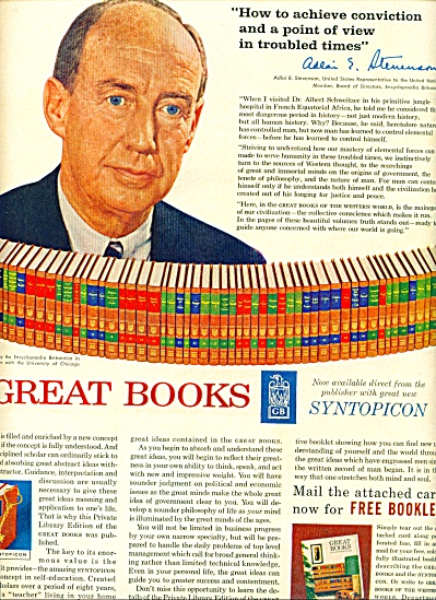 Great books - ADLAI STEVENSON  - ad 1962 (Image1)