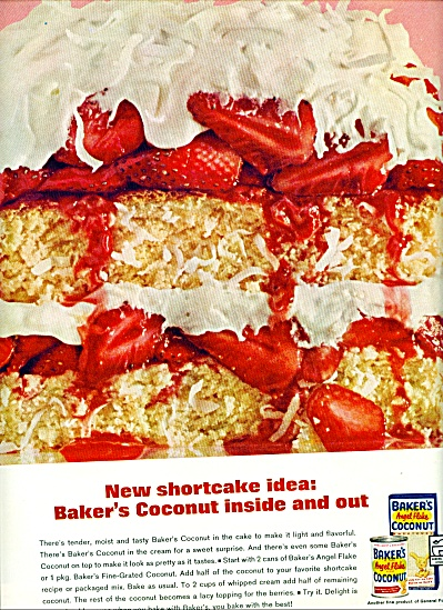 Baker's Angel flake coconut ad 1962 SHORTCAKE (Image1)