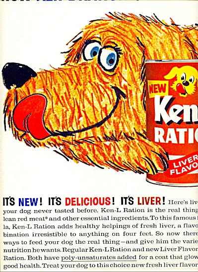 1963 Ken L Ration (liver flavor) ART DOG AD (Image1)