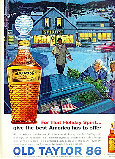 1963 Old Taylor 86 Whiskey Ad Christmas Art
