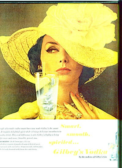 1963 Gilbey's Vodka Ad Woman In Yellow
