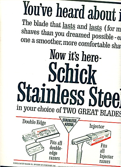 Schick Stainless Steel -two Great Blades Ad