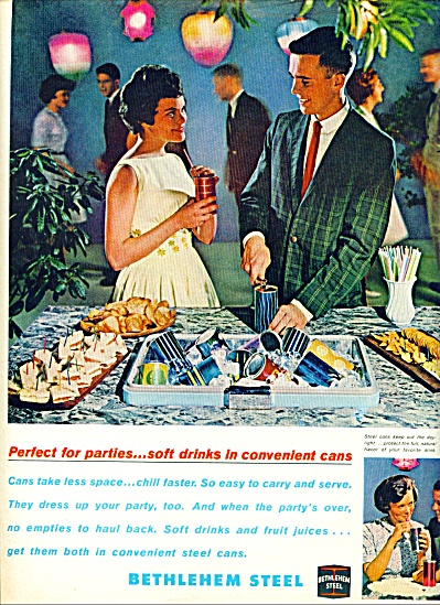 1963 Bethlehem Steel ad OUTDOOR PARTY Couple (Image1)