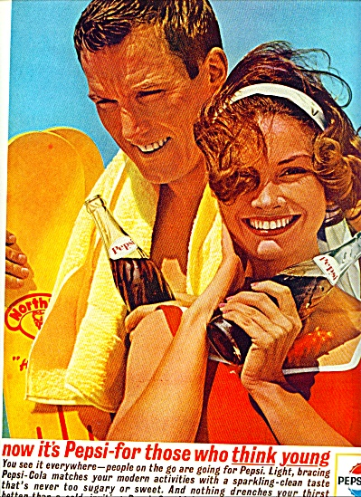 1963 Pepsi Cola AD COUPLE  BEACH Think YOUNG (Image1)