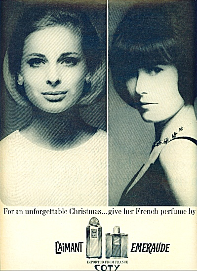 1963 L'aimant Emeraude Coty AD 2 MODELS (Image1)